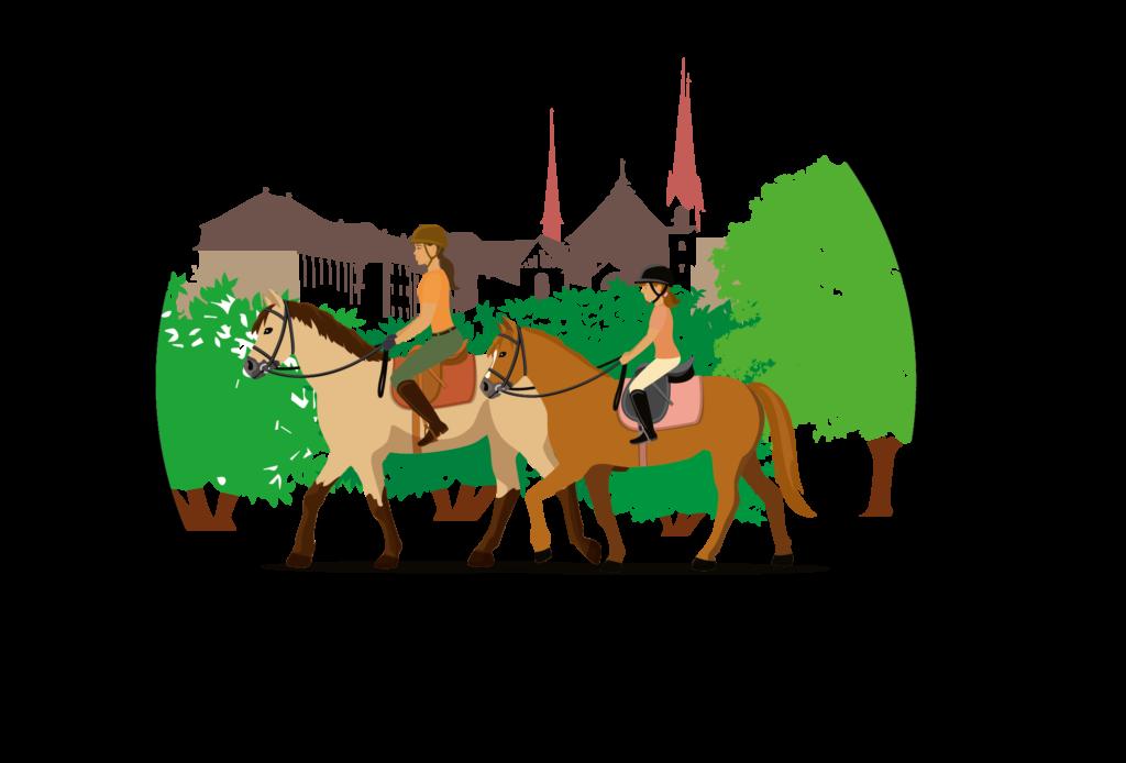 Logo des Patrouillenritt Klosterfeld Muri mit Reiter, Pferde, Kloster und Natur